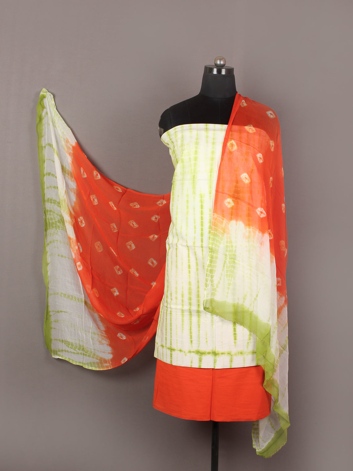 Mint Green Ivory Red Orange Hand Shibori Dyed Cotton Suit-Salwar Fabric With Chiffon Dupatta - S1628179