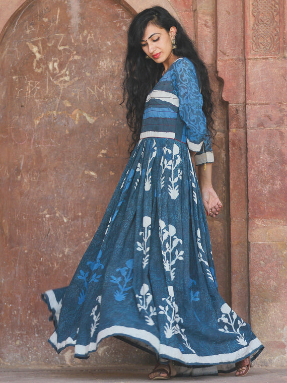 Mughal Galore - Hand Block Printed Long Cotton Flare Dress - DS72F001