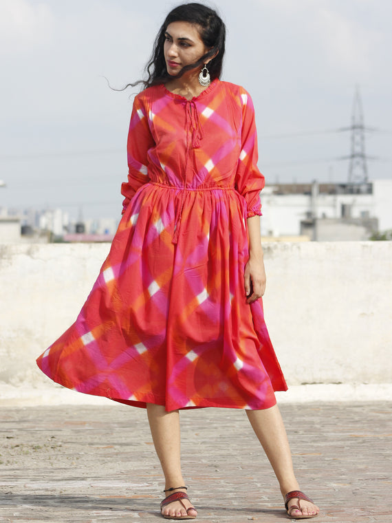 Red Orange Pink White Tie Dye Dress With Elasticated Waist And Peasant Sleeves - DS21F001