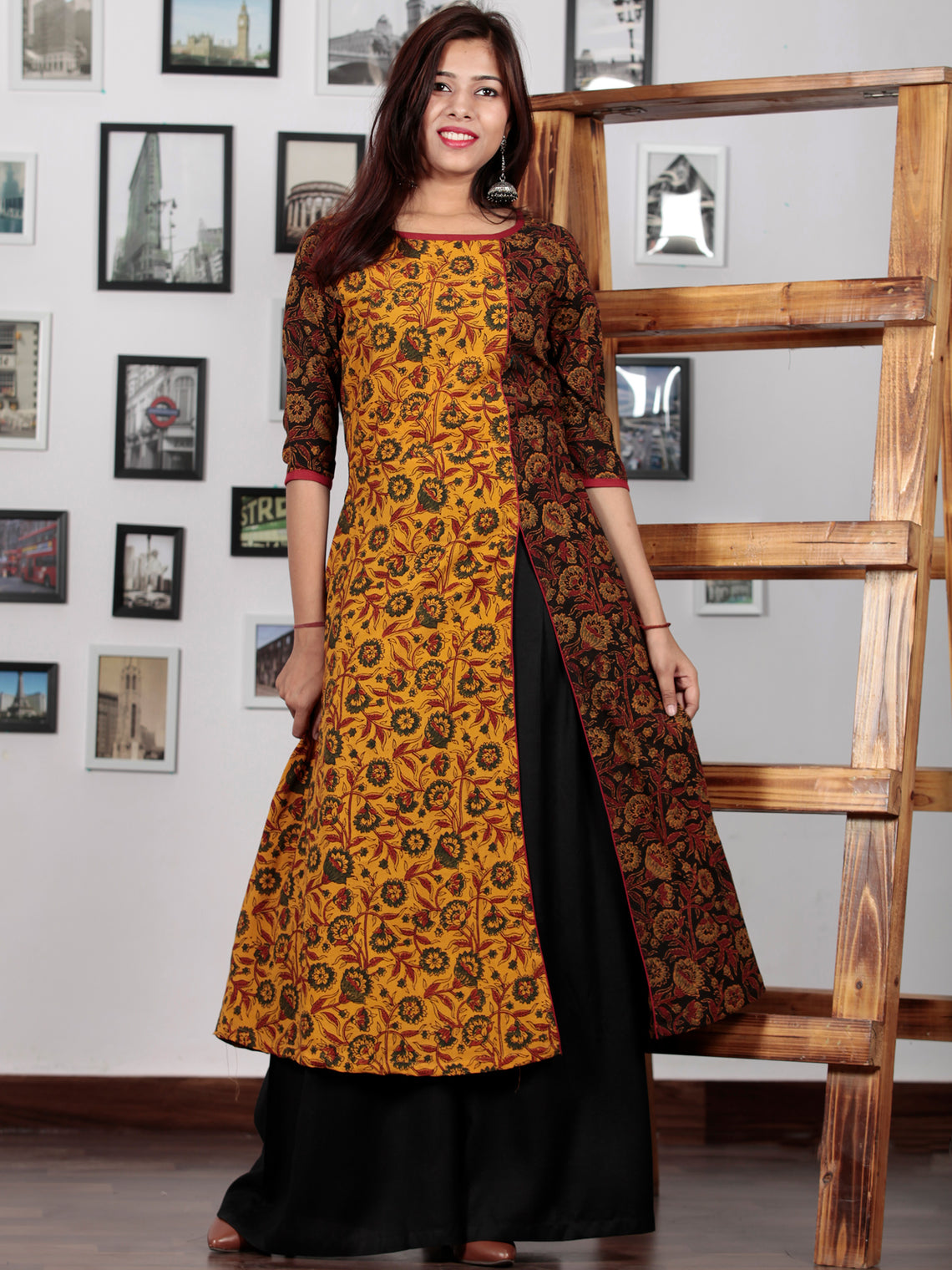 Yellow Maroon Black Green Ajrakh Hand Block Printed Kurta With Front Slit - K61BP0146