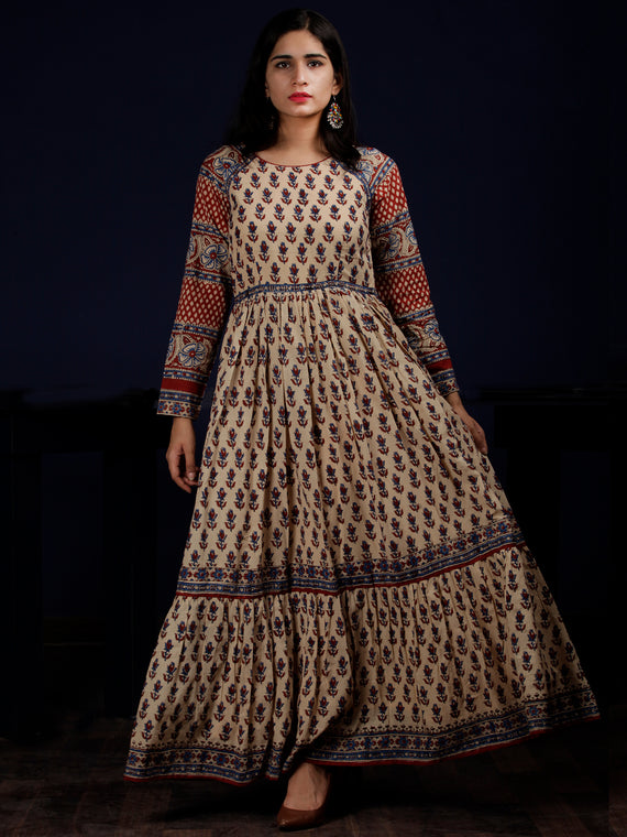 Beige Indigo Red Hand Block Printed Long Cotton Dress With Raglan Sleeves - DS64F001