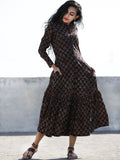 Black Peanut Brown Red Front Open Hand Block Printed Cotton Tier Dress With Stand Collar - D193F884