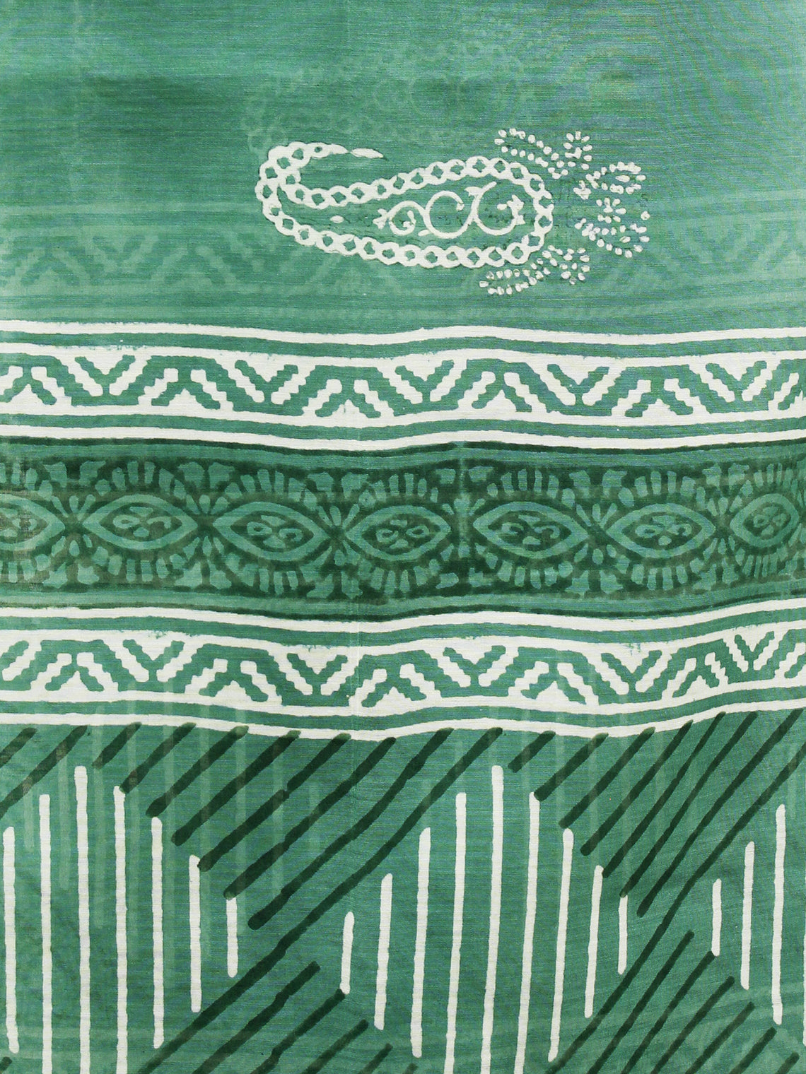 Fern Green Ivory Chanderi Hand Black Printed & Hand Painted Dupatta - D04170216