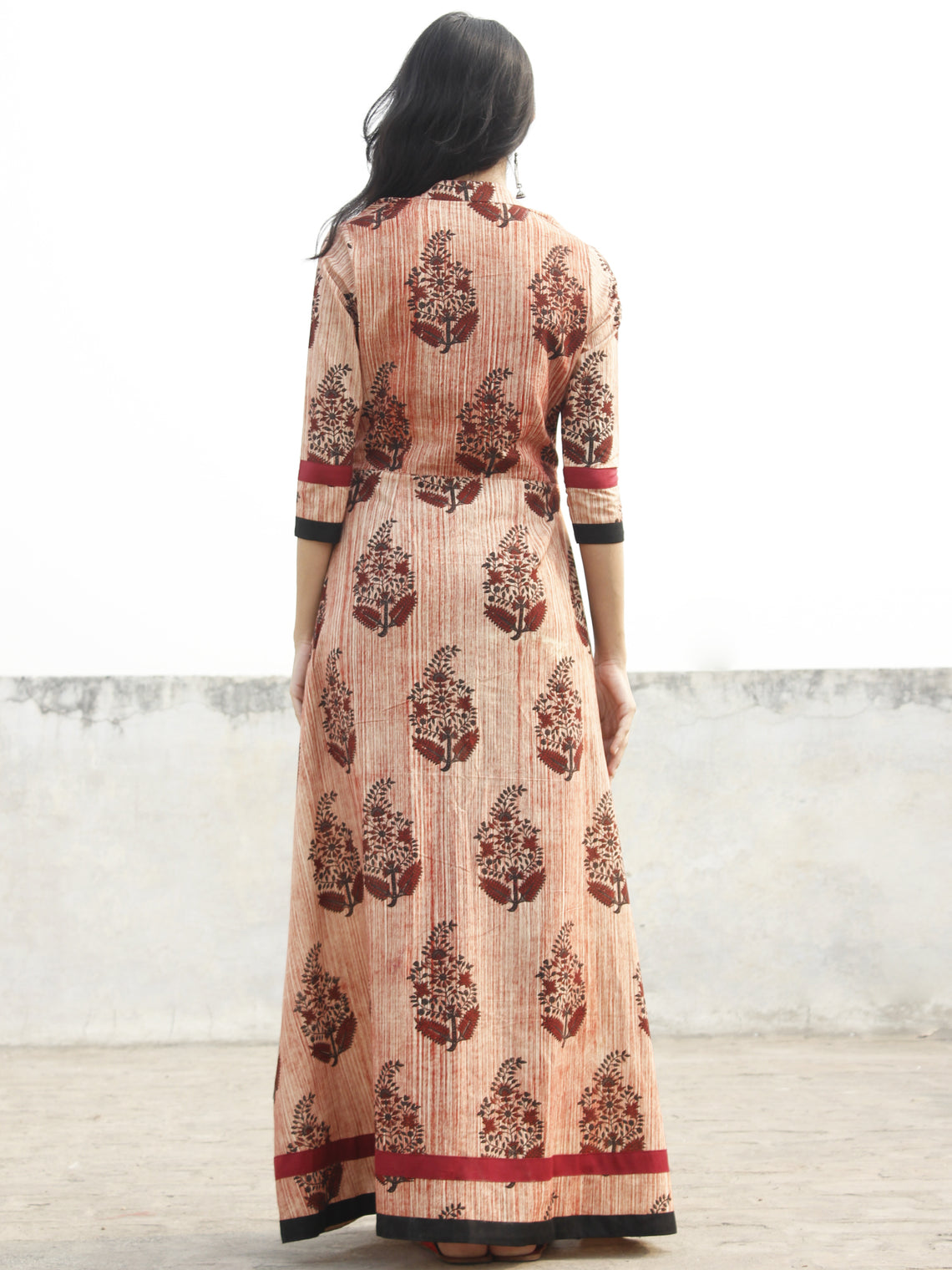 Beige Maroon Black Hand Blocked Cotton Long Dress With Stand Collar  - D165F1156