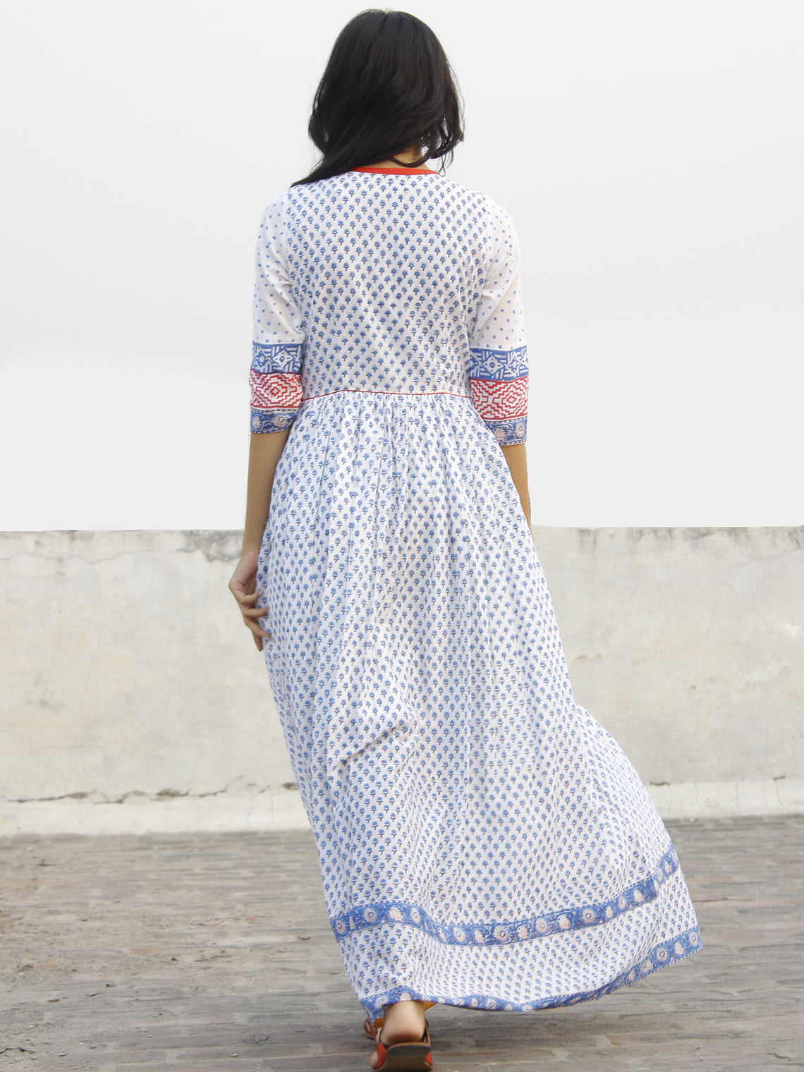 Naaz  Chandni - White Red Blue Hand Block Printed Dress With Gathers-  DS36F001