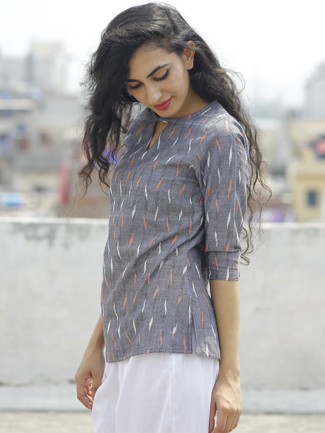 Grey Peach White Hand Woven Ikat Top  - T19F671