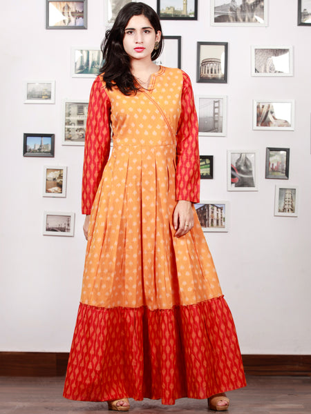 Yellow Red Orange Handloom Mercerised Ikat Long Cotton Tier Dress With Gathers - D169F1287