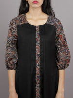 Black Indigo Maroon Ajrakh Printed Cotton & Rayon Dress With Front Pleetes - D4847801