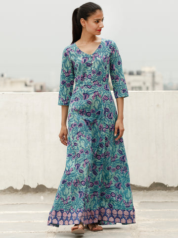 Green Purple Indigo Hand Block Printed Long Cotton Dress With Back Knots - D162FXXX