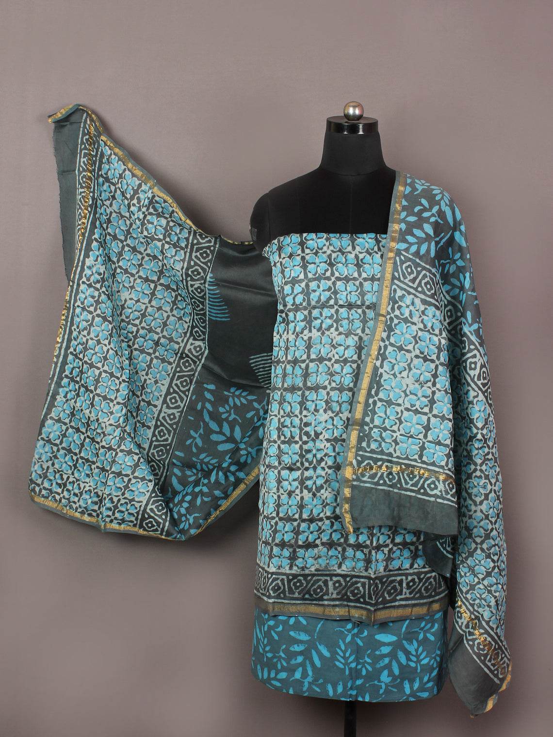 Arctic Blue Grey Ivory Hand Block Printed Chanderi Unstitched Kurta & Chanderi Dupatta With Cotton Salwar - S1628183