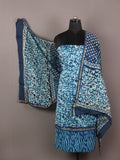 Arctic Blue Indigo Ivory Hand Block Printed Chanderi Unstitched Kurta & Chanderi Dupatta With Cotton Salwar - S1628185