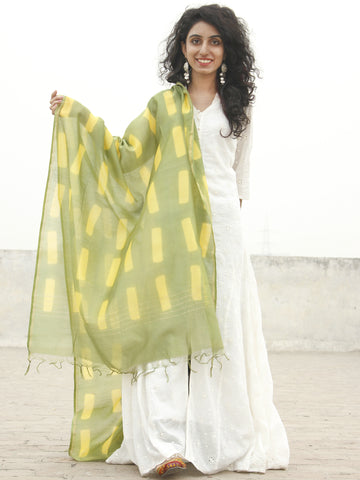 Olive Green Yellow Chanderi Hand Black Printed & Hand Painted Dupatta - D04170217