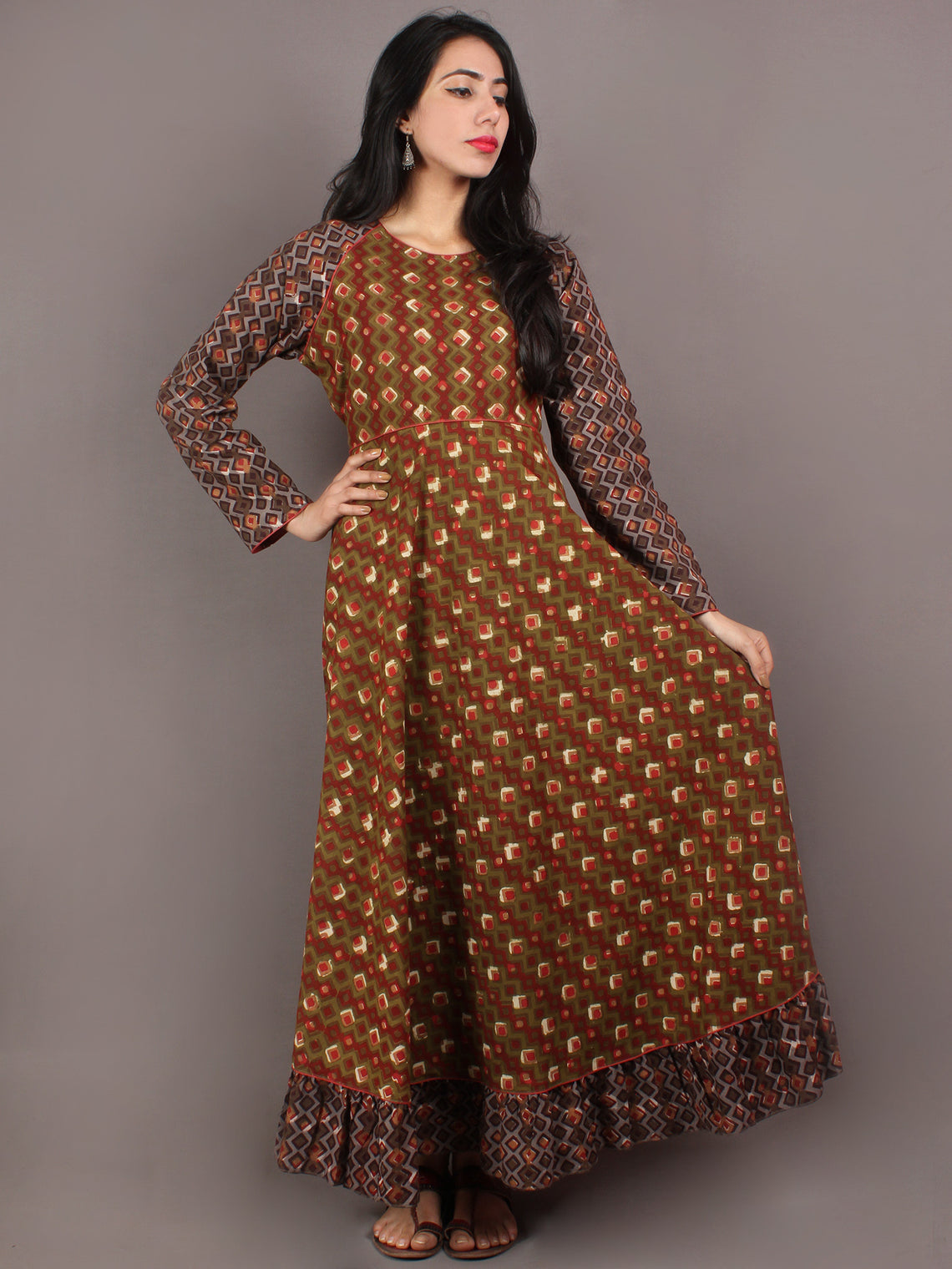 Hand Block Printed Long Cotton Dress With Gather