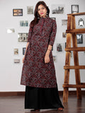 Black Maroon Indigo Ajrakh Hand Block Printed Kurta With Stand Collar - K52BP0107