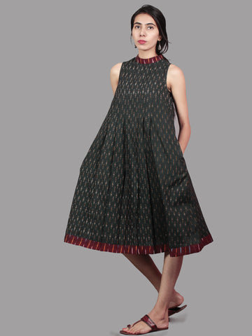Green Maroon Mustard Ivory Handwoven Ikat Cotton Sleeveless Dress With Stand Collar With Pleats - D5366701