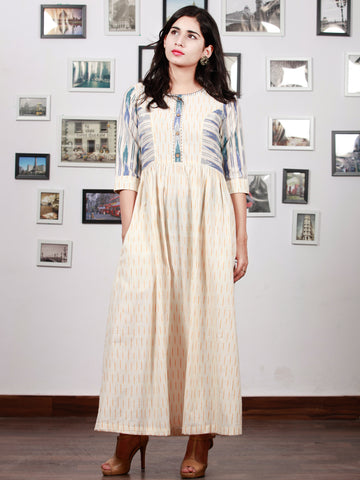 Off White Mustard Blue Grey Handwoven Ikat Princess Cut Dress With Embroidered Neck & Side Pocket-  D304F1470