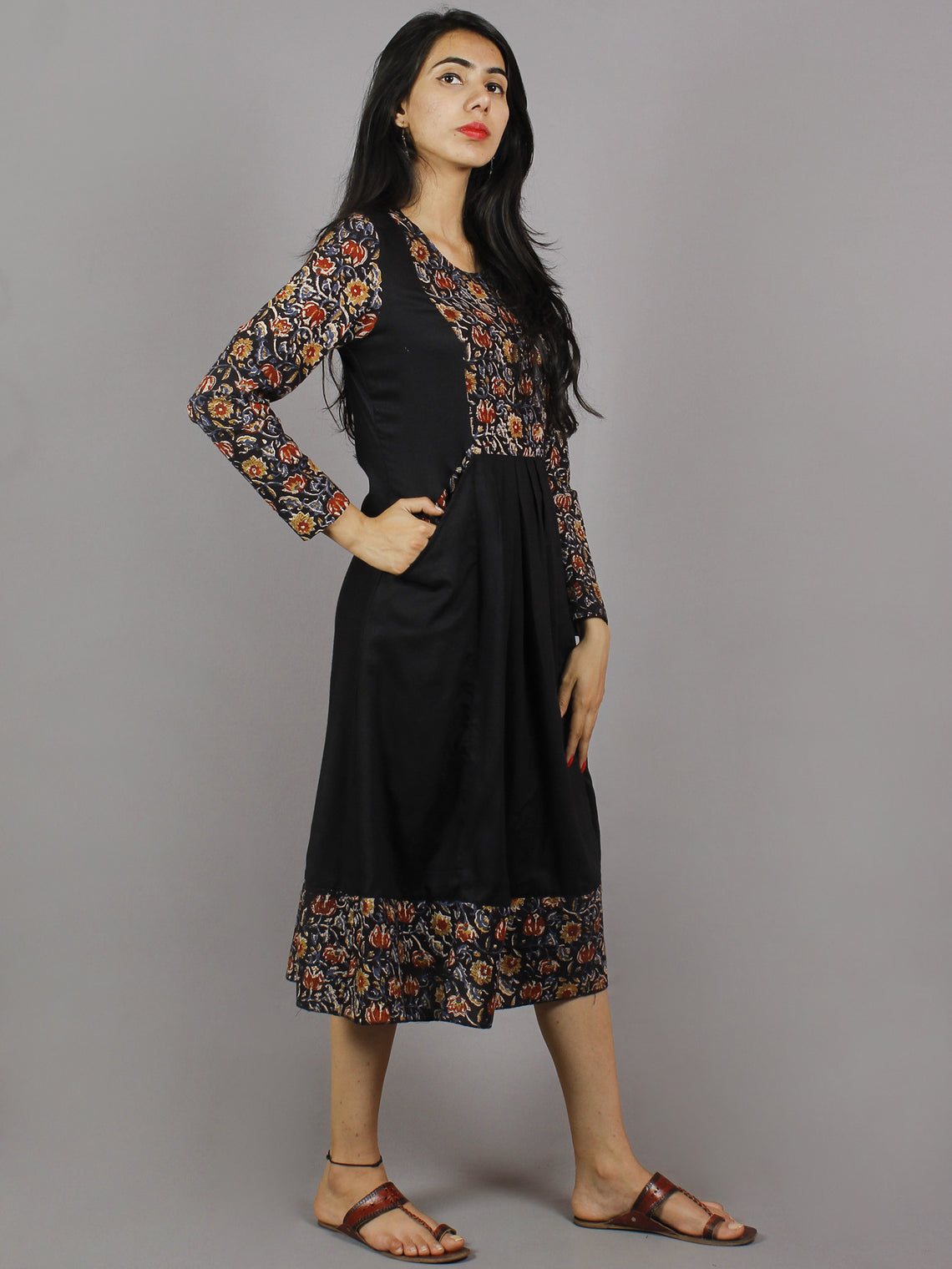Black Maroon Blue Hand Block Printed Cotton & Rayon Midi Dress With Side Pockets - D3559501