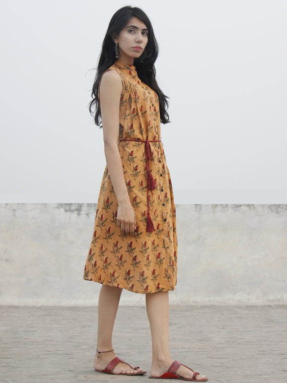 Mustard Yellow Rust Green Hand Blocked Cotton Dress With Tie Up Waist  - D160F1000