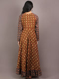 Asparagus Green Maroon Brown Hand Block Printed Long Cotton Dress With Gather - D0617612