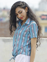 Blue Pink Ivory Green  Hand Woven Ikat Front Knot Ikat Shirt  - T15F727