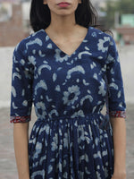 Indigo Ivory Maroon Hand Block Printed Cotton Angrakha Dress With Elasticated Waist - D96F448