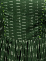 Green Ivory Handloom Mercerised Ikat Long Cotton Asymmetric Sleeveless Dress - D311F1281