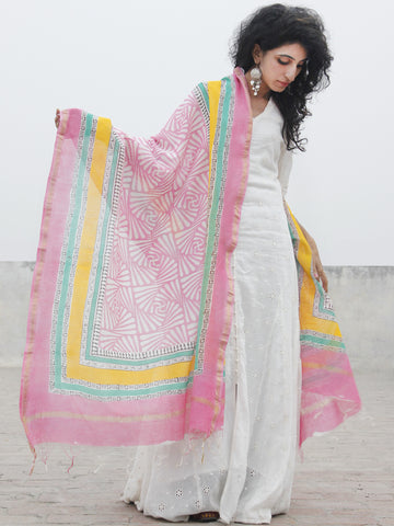 Pink White Blue Chanderi Hand Black Printed & Hand Painted Dupatta - D04170284