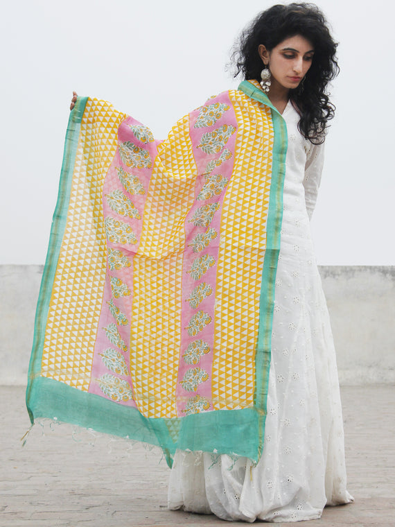 Yellow Green Pink Chanderi Hand Black Printed & Hand Painted Dupatta - D04170285