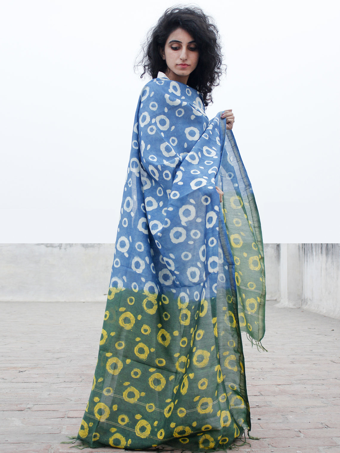 Blue Green Yellow Chanderi Hand Black Printed & Hand Painted Dupatta - D04170290
