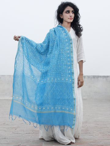 Sky Blue White Chanderi Hand Black Printed & Hand Painted Dupatta - D04170291