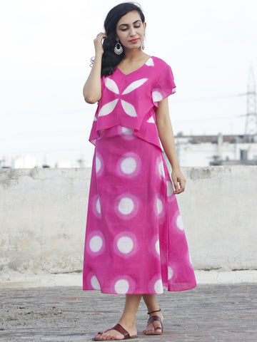 Dark Pink White Tie Dye Calf Length Dress With Ruffle Sleeves - DS20F001