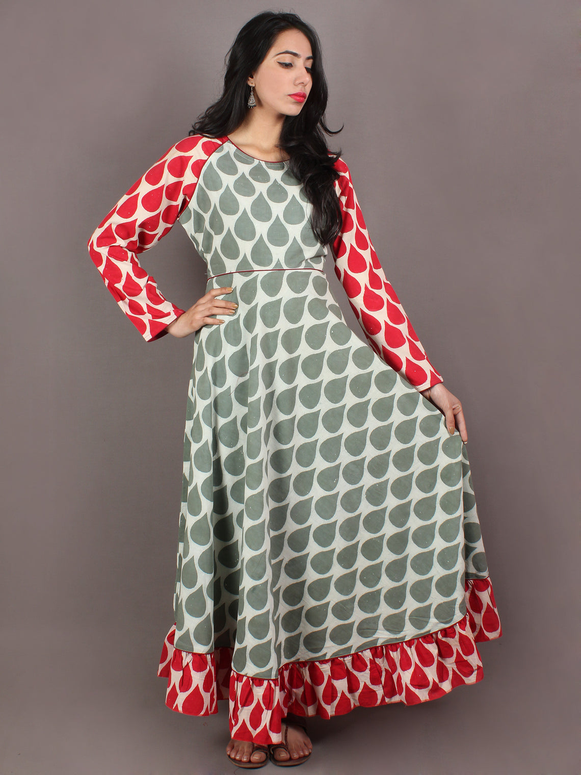 Sage Green Red Beige Hand Block Printed Long Cotton Dress With Gather - D0648713