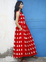 Red White Long Sleeveless Handwoven Double Ikat Dress With Knife Pleats & Side Pockets - D32F766