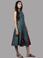 Turquoise Maroon Ivory Handwoven Double Ikat Cotton Sleeveless Dress With Side Pockets  - D5565901