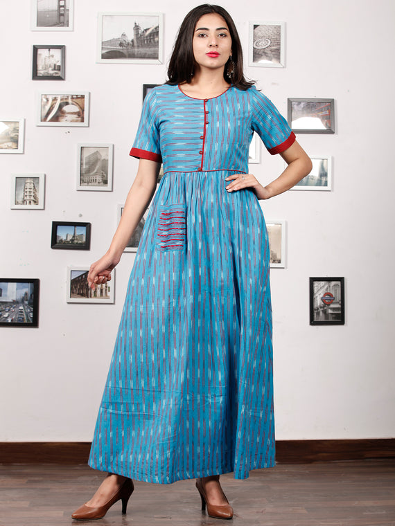 LEFT RIGHT - Handwoven Ikat Long Dress - D323F1447