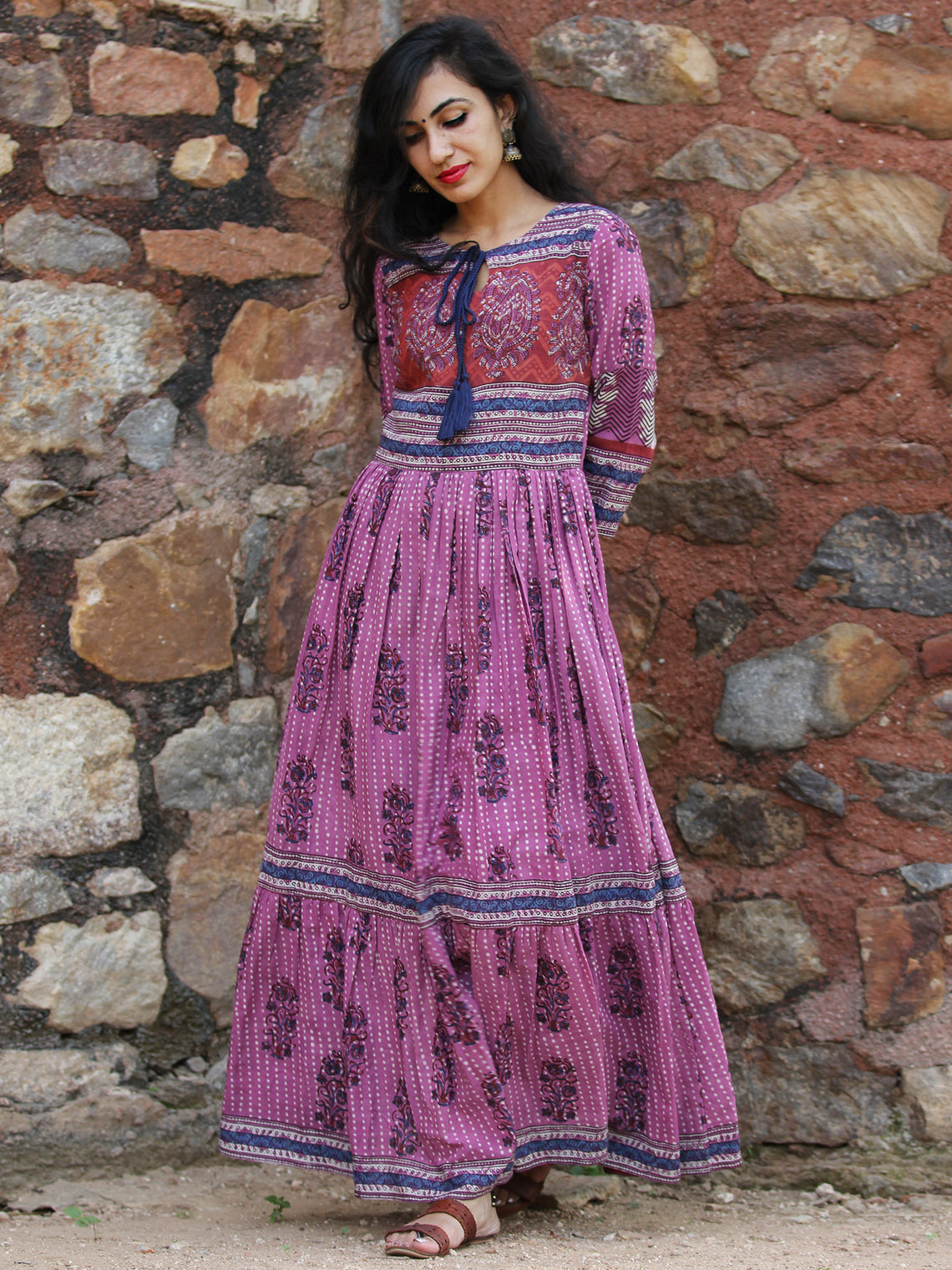 Lavender Chorus - Hand Block Printed Long Cotton Tier Dress - DS69F001