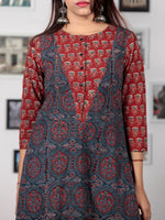 Red Indigo Black Ajrakh Hand Block Printed Kurta  - K68BP0143