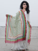 MultiColor Chanderi Hand Black Printed & Hand Painted Dupatta - D04170292