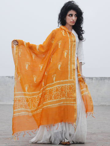 Sunshine Orange Ivory Chanderi Hand Black Printed & Hand Painted Dupatta - D04170295