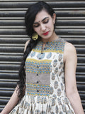 Beige Blue Mustard Black Hand Block Printed Sleeveless Cotton Dress With Gather & Lining - DS09F001