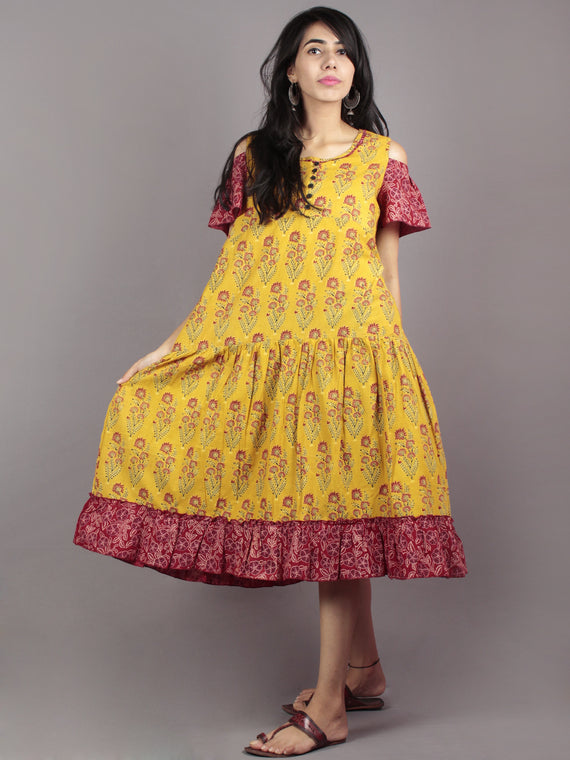 Mustard Maroon Black Ivory Ajrakh Block Mughal Printed Tier Cotton Dress With Cold Shoulders  - D60F623