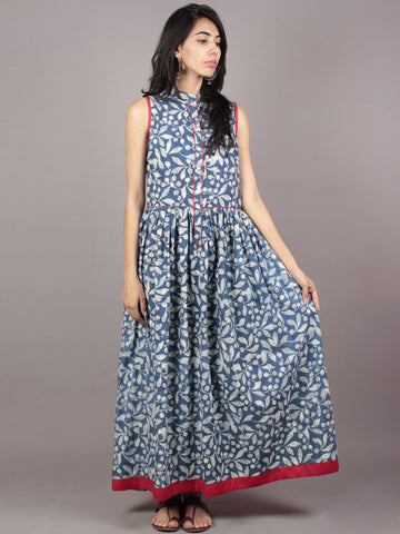 Indigo Ivory Black Red Long Sleeveless Hand Block Printed Cotton Dress With Knife Pleats & Side Pockets - D46F607