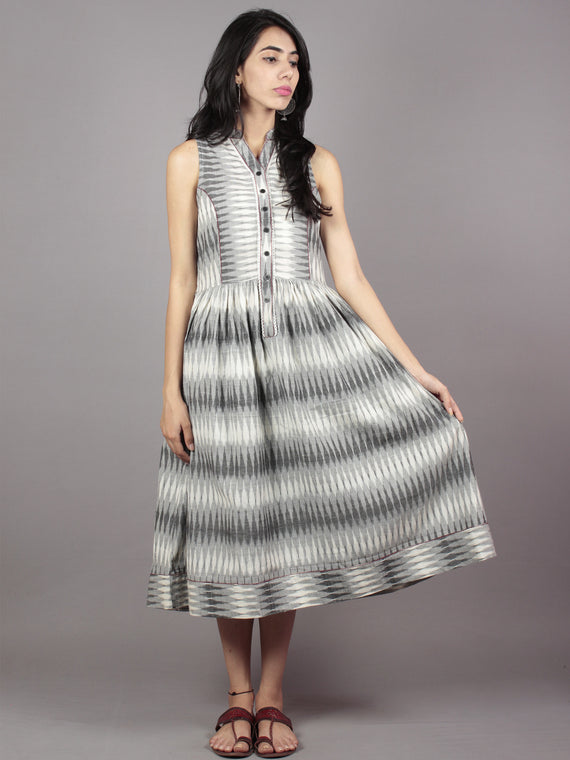 Grey Ivory Handwoven Ikat Cotton Sleeveless Dress With Princess Line & Side Pockets - D61F718