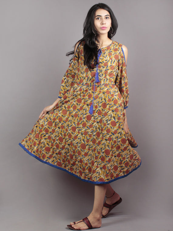 Mustard Brown Indigo Ivory Hand Block Printed Half Circular Cold Shoulders Cotton Dress With Tassels - D62F586