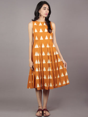 Mustard Ivory Handwoven Double Ikat Pleated Sleeveless Dress With Side Pockets & Back Zip  - D65F758