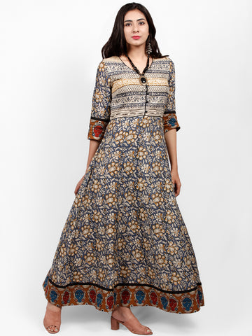 BAGRU LEAVES - Hand Block Printed Cotton Long Dress  - DS67F001