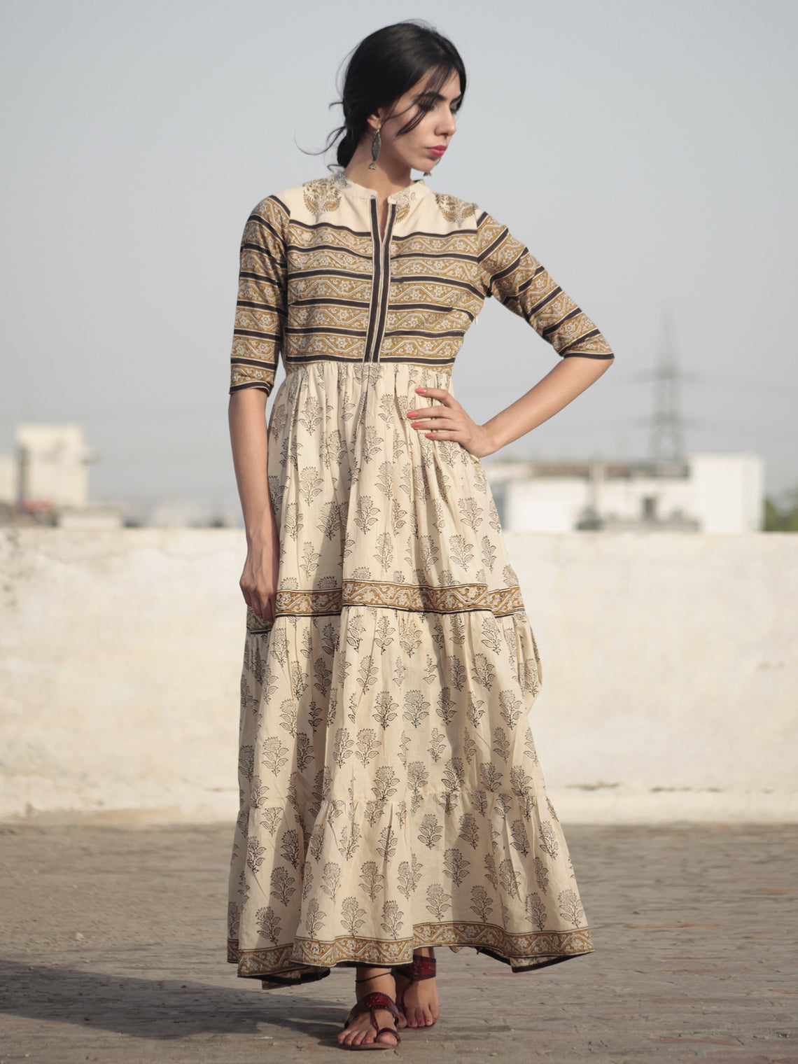 Beige Mustard Black Hand Block Printed Long Cotton Tier Dress with Gathers - DS10F001