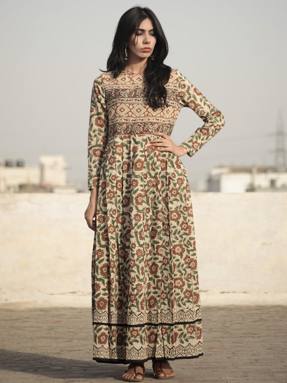 Naaz Beige Green Brown Black Hand Block Printed Long Cotton Dress with Knife Pleats and Side Pockets - DS13F001