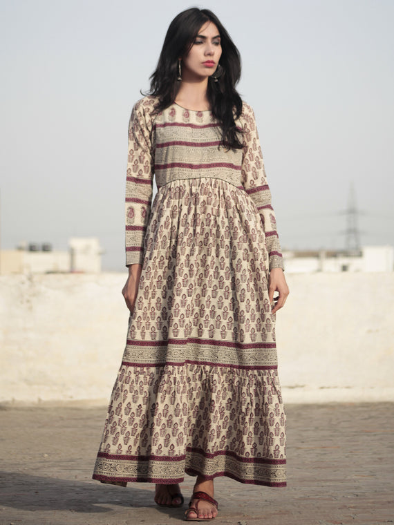 Naaz Beige Byzantium purple Black Hand Block Printed Long Cotton Tier Dress with Gathers - DS07F001