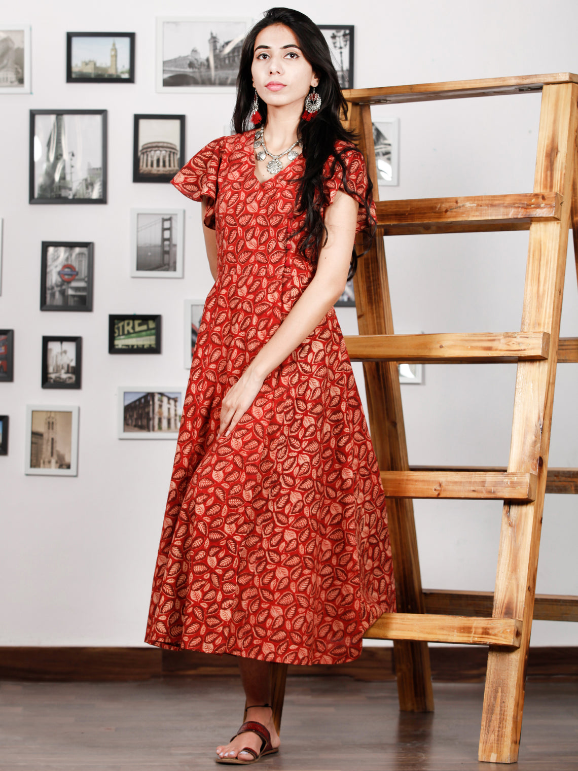 Red Beige Rust Hand Block Printed Cotton Angrakha Dress With Ruffle Sleeves - D273F1322